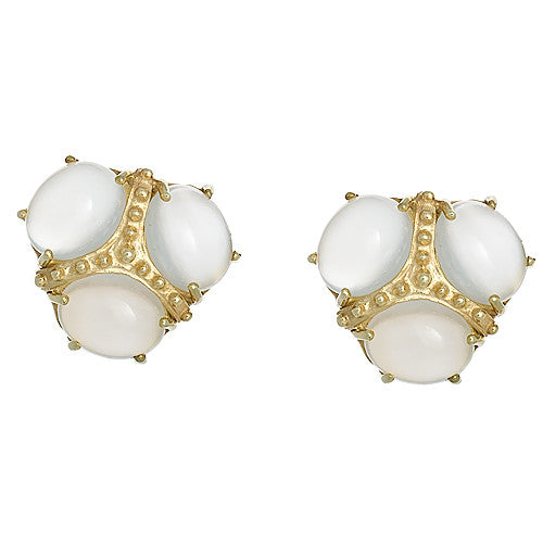 14kt Yellow Gold and White Moonstone Earrings