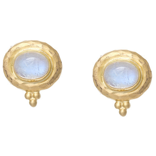 Moonstone Yellow Gold Hammered Earrings