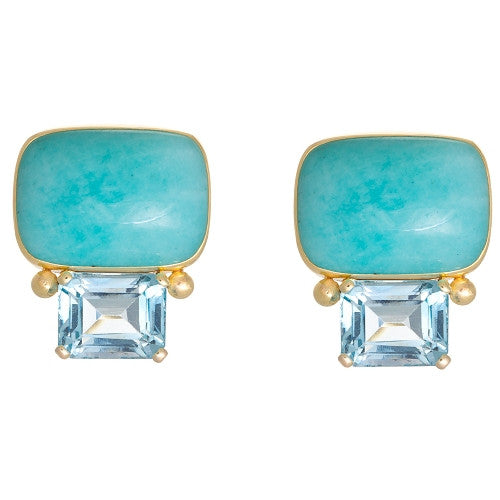 14kt Yellow Gold Blue Topaz and Amazonite Earrings