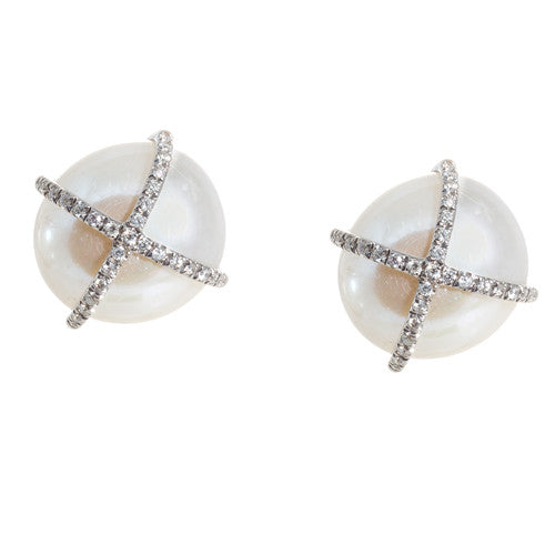 14kt White Gold Freshwater Pearl Earrings
