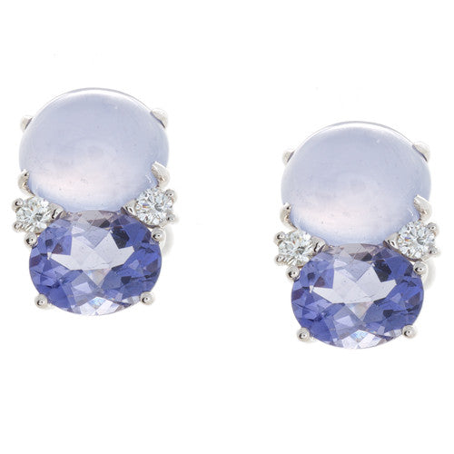 18kt White Gold Iolite and Chalcedony Earrings