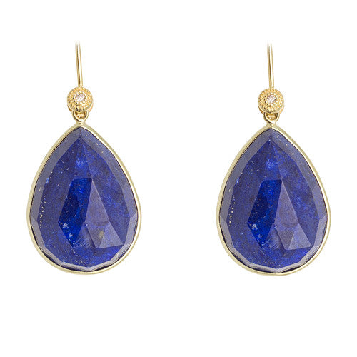 14kt Yellow Gold Lapis Earrings
