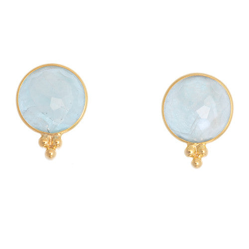 14kt Yellow Gold Amazonite and Moonstone Earrings