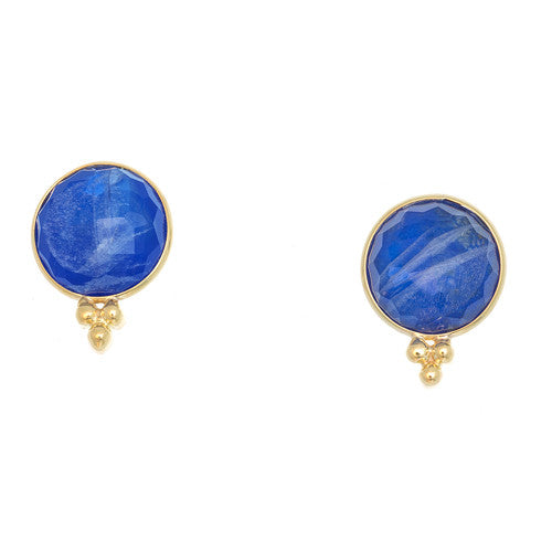 14kt Yellow Gold Lapis and Moonstone Earrings