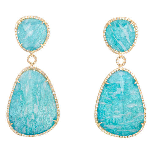 Amazonite and Diamond Dangle Earrings