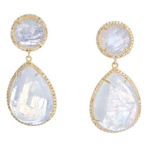 14kt Yellow Gold and Diamond Moonstone Earrings
