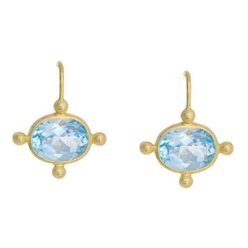 14kt Yellow Gold Blue Topaz Earrings