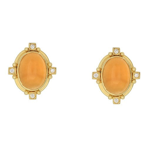 14kt Yellow Gold Citrine Cabochon Earrings