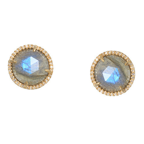 14 Karat Yellow Gold Labradorite Earring with Diamond