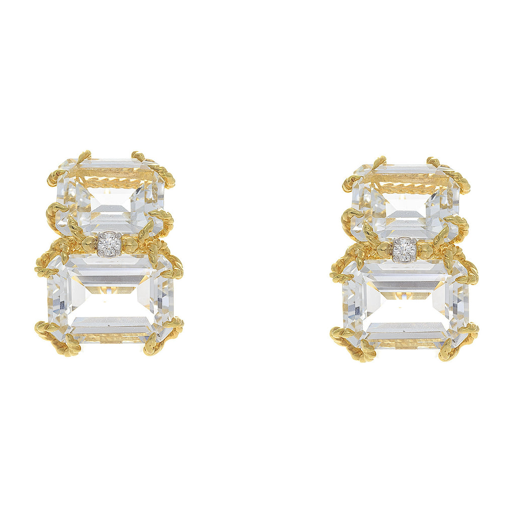 14kt Yellow Gold Emerald Cut White Topaz with Diamond Earrings