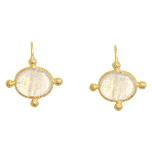 14 Karat Yellow Gold and Moonstone Earrings