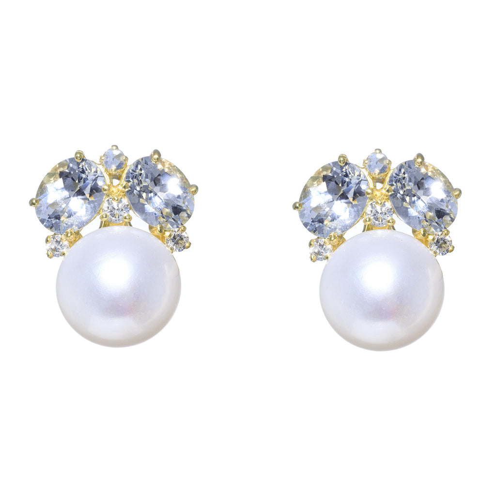 14kt Yellow Gold White Topaz with Pearl Earrings