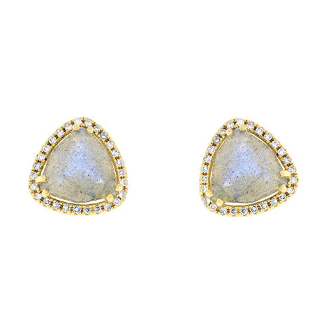 14k Yellow Gold Trillion Labrodorite Stud Earrings with Diamonds