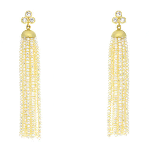 14kt Yellow Gold Pearl Tassel with White Topaz Post