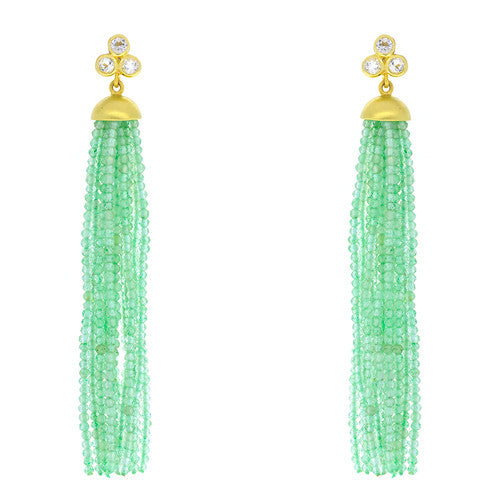 14kt Yellow Gold Green Quartz Tassel with White Topaz Post