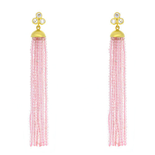 14kt Yellow Gold Pink Quartz Tassel with White Topaz Post
