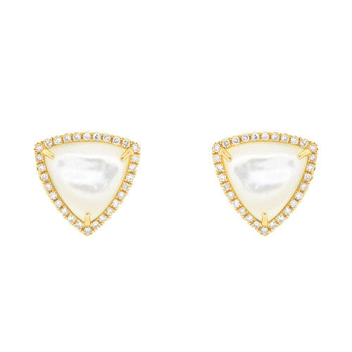 14kt Yellow Gold Trillion Mother of Pearl Stud Earrings with Diamonds