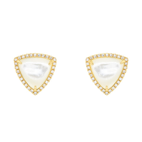 14k Yellow Gold Trillion Moonstone Stud Earrings with Diamonds