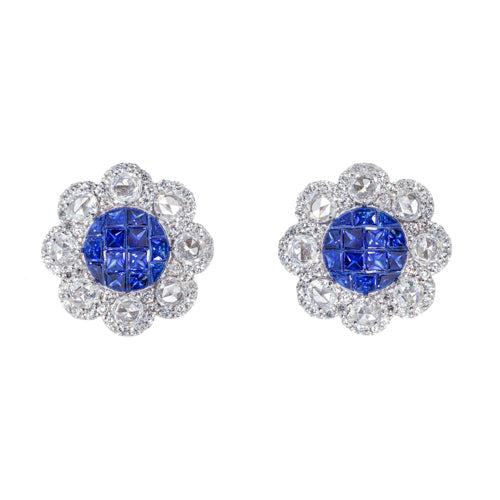 18kt White Gold Sapphire Illusion and Rose Cut Diamond Earrings