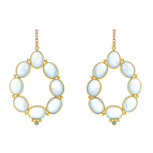 14kt Yellow Gold Aquamarine Cabochon and Diamond Earrings