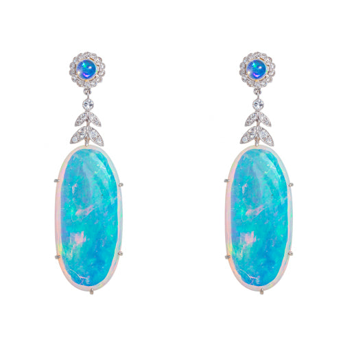 Estate 18k White Gold Opal and Diamond Drops