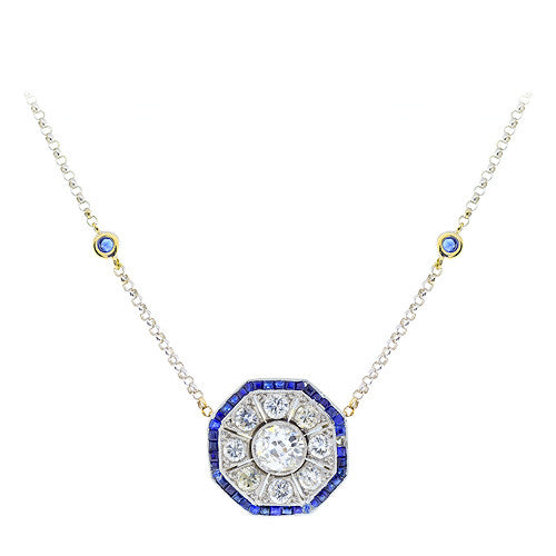 Estate Sapphire and Diamond Pendant Necklace