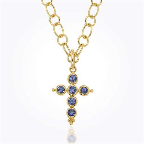 Temple St. Clair 18K Yellow Gold Classic Cross Pendant