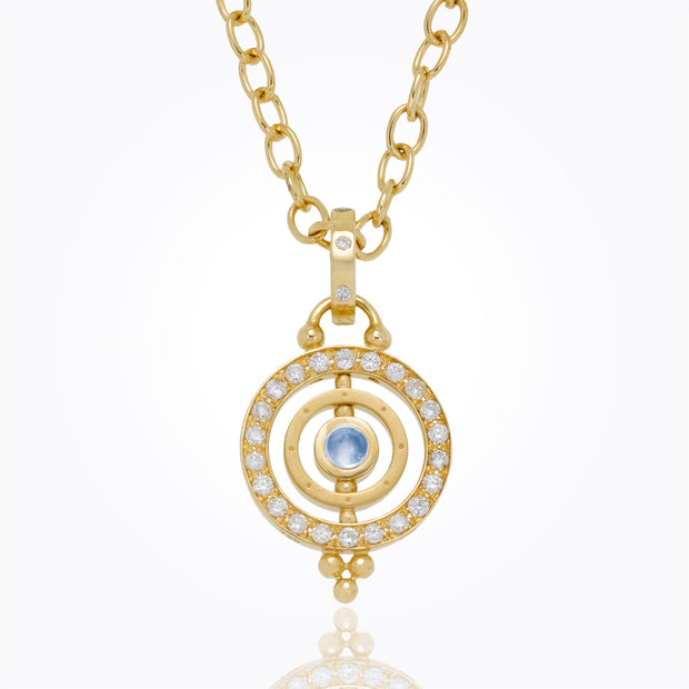Temple St. Clair 18K Yellow Gold Piccolo Tolomeo Pendant with Royal Blue Moonstone and Diamond