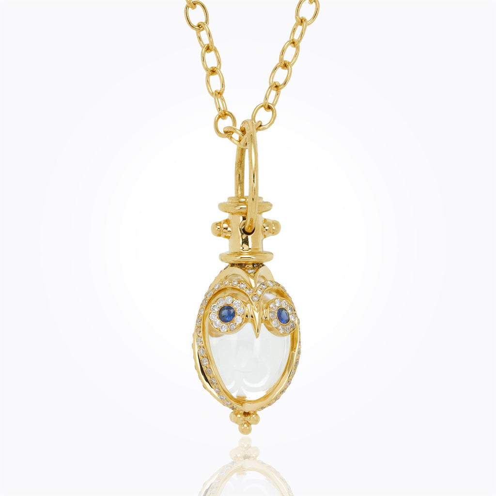 Temple St. Clair 18K Yellow Gold Owlet Amulet with Blue Sapphire and Diamond pavé