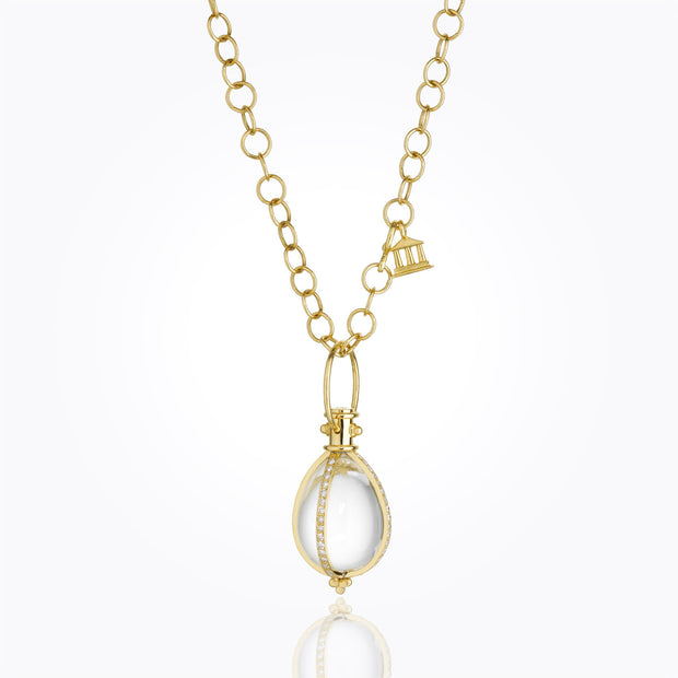 Temple St. Clair Item 18K Yellow Gold Classic Amulet with Rock Crystal and Diamond pavé
