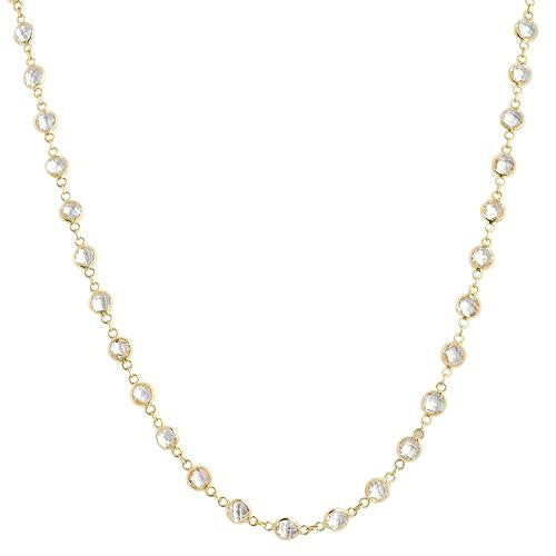 18kt Yellow Gold and White Topaz Necklace