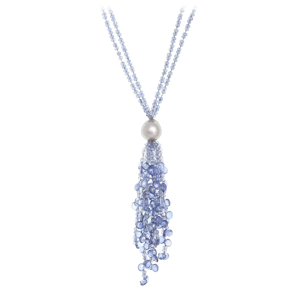 Blue Topaz Beaded Tassel Necklace with Pearl