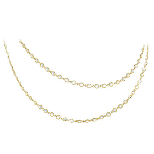14kt Yellow Gold White Topaz Necklace
