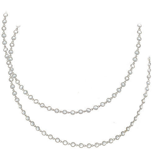 14kt White Gold White Topaz Necklace - 51 inches