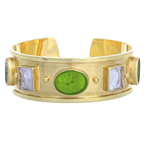 14kt Yellow Gold Venetian Glass Cuff