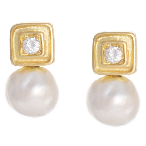 "LPL Signature Collection ""The Sydney"" Pearl and Diamond Earrings"