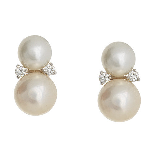 18kt White Gold Pearl and Diamond Earrings