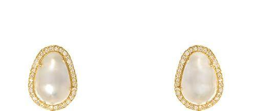18 Karat Yellow Gold Pearl and Diamond Earrings