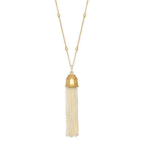 Katie Decker 18kt Yellow Gold White Seed Pearl Tassel Pendant