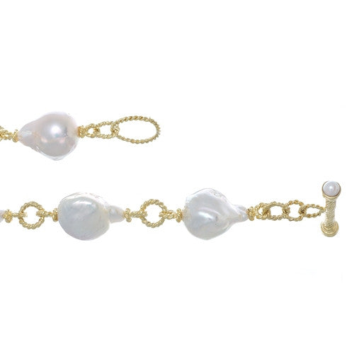 14kt Yellow Gold Bracelet with Large Baroque Pearls