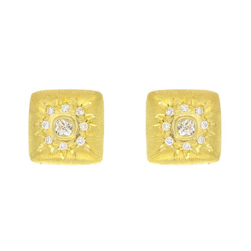 14k Yellow Gold White Topaz Florentine Earrings