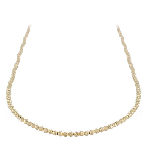 14kt Yellow Gold Diamond Cut Beaded Necklace