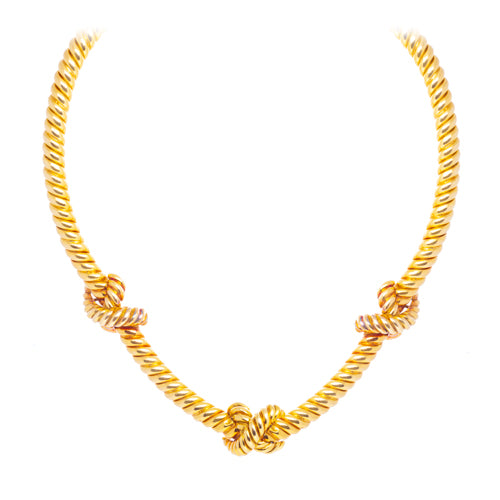 Estate 18k Yellow Gold Knot Choker
