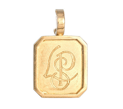 LPL Signature Collection 18kt Yellow Gold Rectangle Pendant