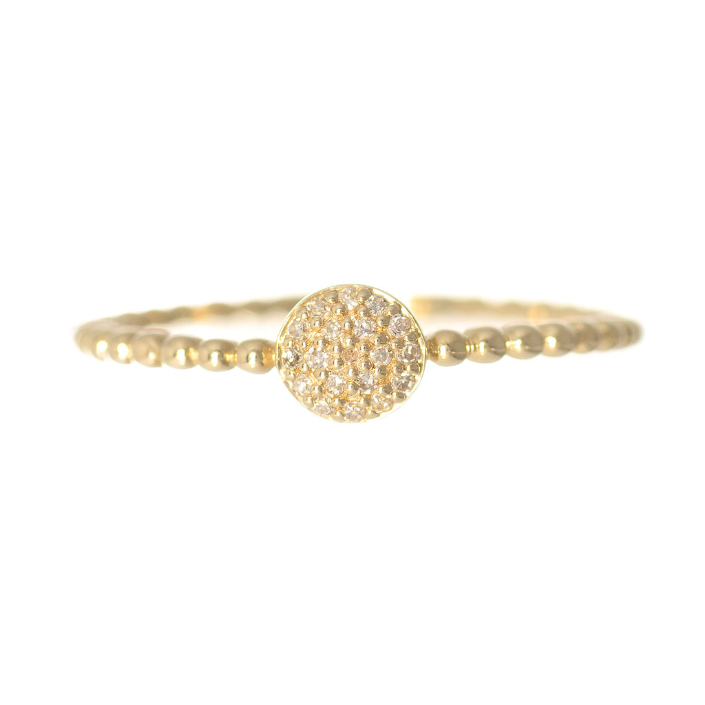 14kt Yellow Gold Diamond Round Disc Stacking Ring