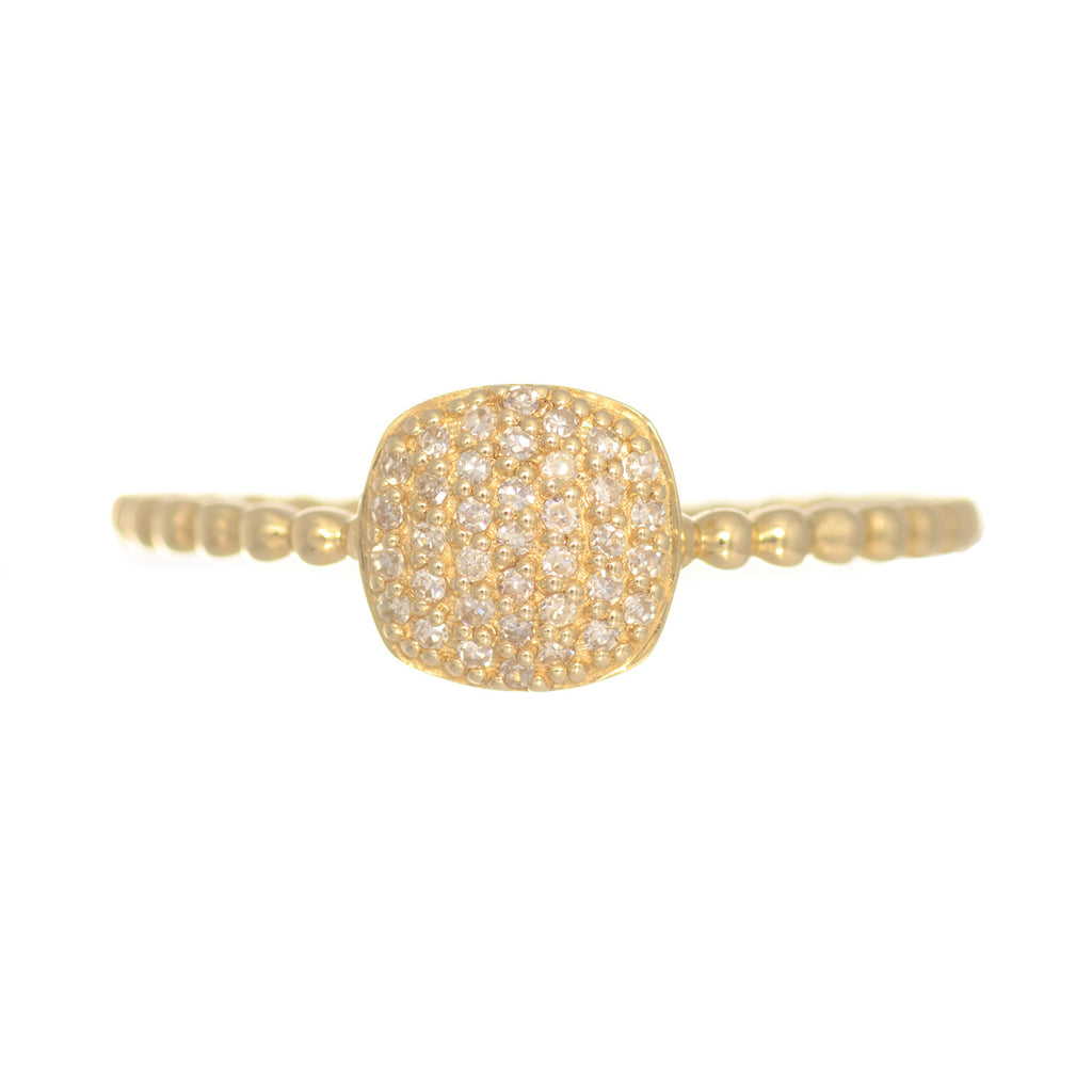 14kt Yellow Gold Diamond Cushion Shape Stacking Ring