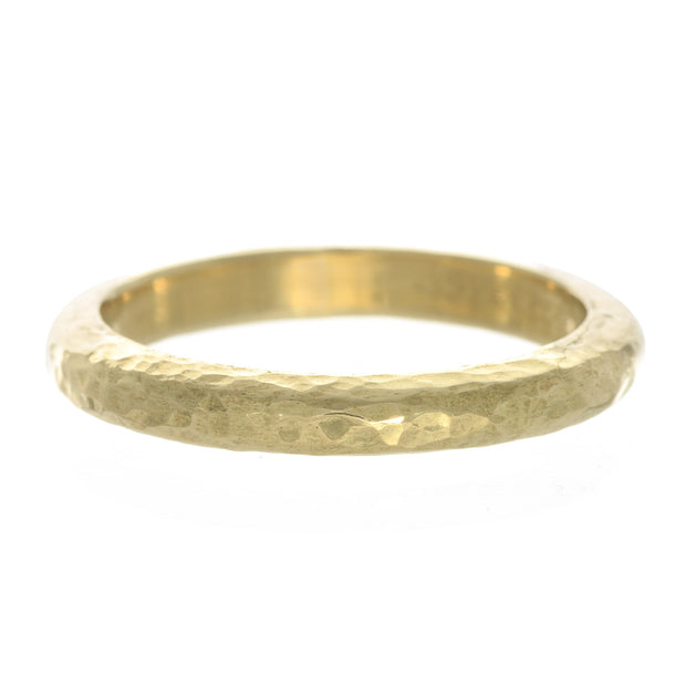 18 Karat Yellow Gold Hammered Band 3mm