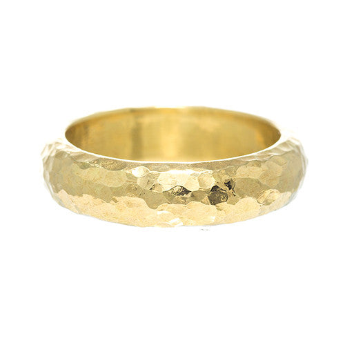 LPL Signature Collection 18 Karat Yellow Gold Hammered Band 5mm