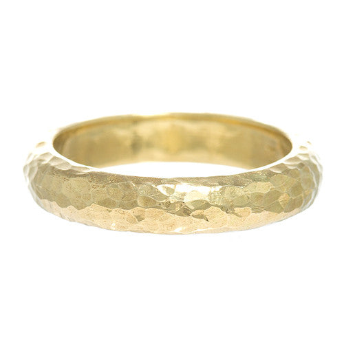 LPL Signature Collection 18 Karat Yellow Gold Hammered Band 4mm