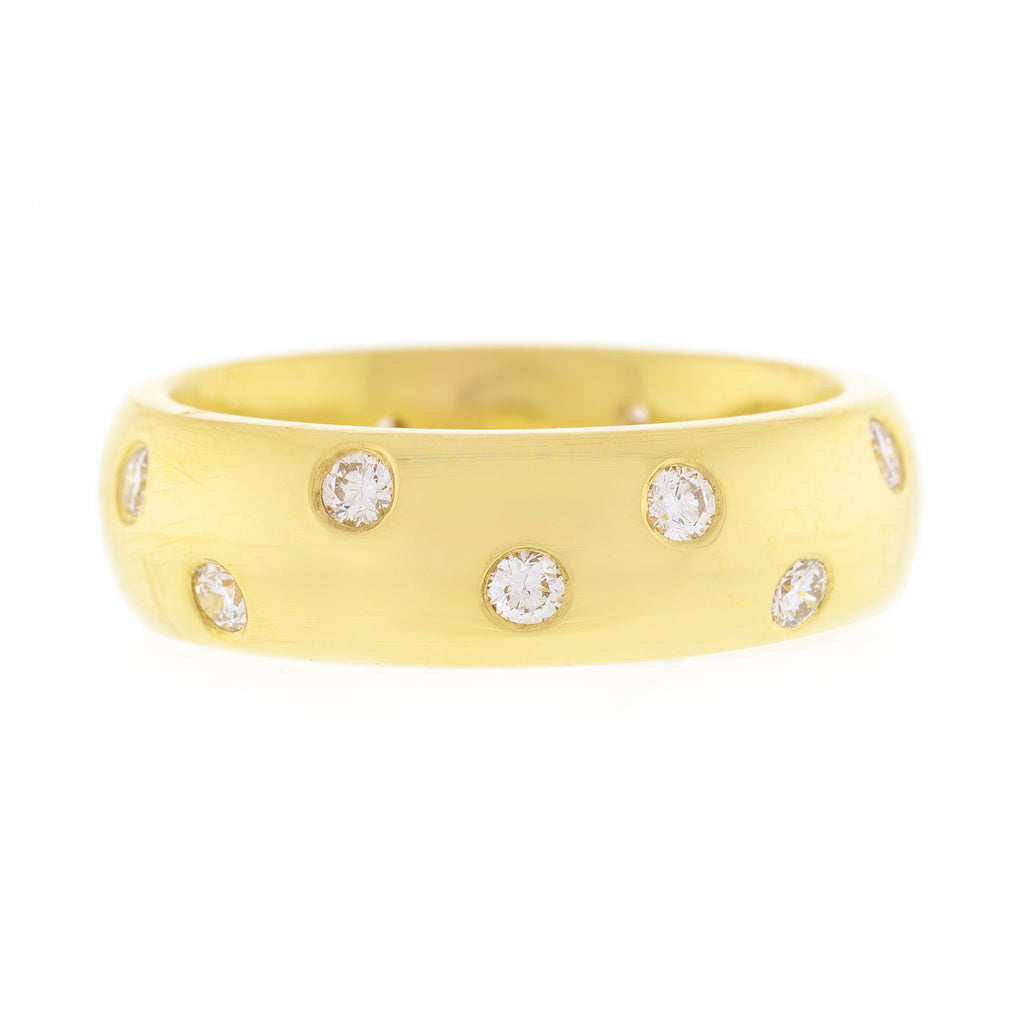18kt Yellow Gold Polished Band with Flush Set Diamonds